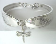 Spoon Bracelet Ornate Antique Pattern Queen Bess by silveruware