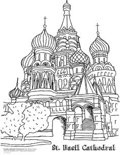 worksheets for st basil's cathedral Pattern Coloring Pages, Coloring Pages To Print, Coloring Pages For Kids, Coloring Sheets, Coloring Books, Saint Basile, St Basils Cathedral, St Basil's, Alphabet Coloring