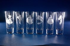 Princess Etched Shot Glasses by ThePolarBearNook on Etsy, $10.00