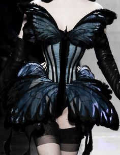 // Jean Paul Gaultier Haute Couture // Blue Butterfly Corset - wearable art with silhouette; Fashion Details, Look Fashion, Fashion Art, High Fashion, Fashion Design, Trendy Fashion, Fashion Black, Dress Fashion, Jean Paul Gaultier