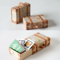 matchbook suitcase mini diy craft / tiny notebooks inside