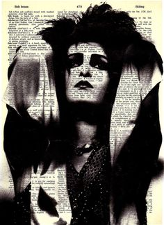 Siouxsie  - Print on Vintage repurposed paper - dictionary print