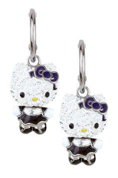 Hello Kitty Goth Crystal Earrings - goth kitty! :)