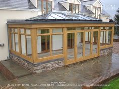 "This ""timber frame"" orangery with an oak finish is a perfect complement to the o. - House Plans, Home Plan Designs, Floor Plans and Blueprints House Extension Design, Glass Extension, Barn House Conversion, Screened In Porch, House Extensions, Pergola, Gazebo, House Goals, Building A House"