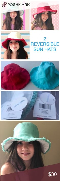 2 NEW SUN HATS! COTTON RED BLUE REVERSIBLE S Kids TWO reversible NEW HATS! cotton opaque sun blocking material with stylish frayed edging...perfect hats to block the sun and sit in style! Get for travel...wrinkle resistant, and crushable..! By Nine West, both WITH TAGS. Comfortable and cute! Fits an older child. (M26) Nine West Accessories Hats