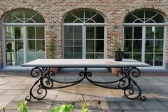 Wrought iron table with hard stone top. I want this table. Wrought Iron Furniture, Outdoor Decor, Wrought Iron Table, Patio Table, Iron Table, Outdoor Living, Iron Decor, Tuscan Decorating, Metal Furniture