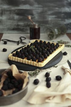 Goat cheese, blackberry and thyme tart....yum!