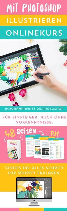 Onlinekurs: Illustrieren mit Photoshop. Ein Kurs für Anfänger und Illustratoren und überhaupt jeden, der auf Deutsch lernen möchte, digital zu zeichnen und Illustrationen mit Photoshop zu erstellen.    #photoshop #photoshoplernen #photoshoptitorial #photoshopkurs  Malen lernen | zeichnen lernen | Mit Photoshop illustrieren | Photoshop Tutorial