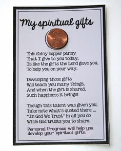 Penny spiritual gifts Sunday School Lessons, Sunday School Crafts, Retreat Gifts, Retreat Ideas, Women's Retreat, College Girls, Young Women Lessons, Church Activities, Indoor Activities