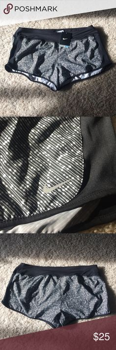 Nike Dri Fit Running Shorts Black with white and black pattern Nike shorts with Dri fit technology. Has interior lining. No trades. Nike Shorts
