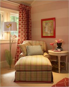 love the striped walls and graphic curtains