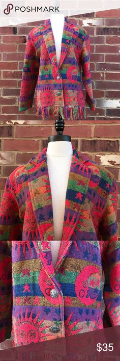 "Vintage Tapestry jacket Blazer sun moon stars Sz L Super cute!! Good preowned condition. 100% cotton 48"" bust 27"" length more by lata Jackets & Coats Blazers"