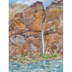 Painted on location in the Grand Canyon, Deer Creek Falls by Kim Solga. Click for the BlueOtterArt page on Etsy, and see a panorama photo too.