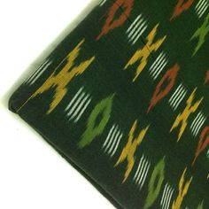 Olive Green and Yellow Handloom Ikat Fabric  Indian by DesiFabrics, $13.00