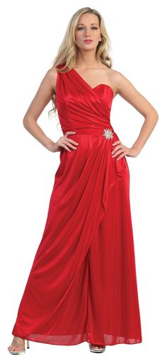 Long Red One Shoulder Semi Formal Evening Gown Silky Soft W/Brooch $105.99