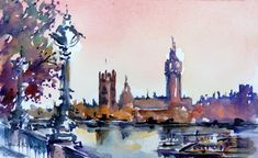 LAURA CLIMENT : julio 2012 Nights in London Watercolor.