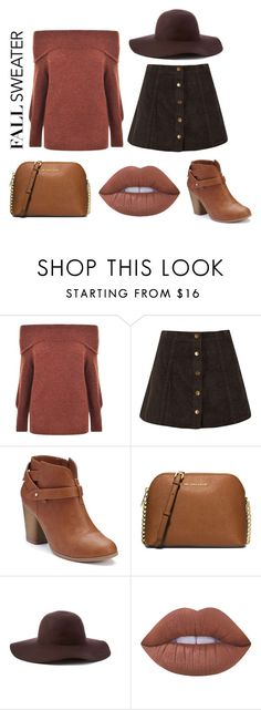 """""""Sweater Weather"""" by malmccoyy ❤ liked on Polyvore featuring Gestuz, LC Lauren Conrad, Michael Kors, Scala and Lime Crime"""