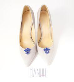 Shoe jewelry with blue rhinestones shoe clips Manuu wedding
