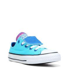 best website 7fbf4 1c778 Converse Kids  Chuck Taylor All Star Double Tongue Low Top Sneakers (Fresh  Cyan