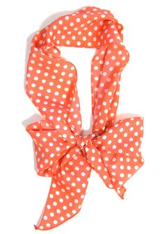 Skinny Secretary Scarf: Coral Dots