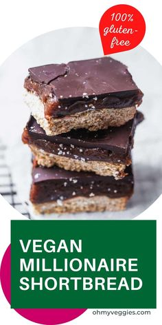 This Vegan Millionaire's Shortbread is a decadent vegan dessert that couldn't be easier to make. Start with a simple two-ingredient shortbread, layer with date caramel, and top with rich dark chocolate. Yum! Vegan Baking Recipes, Vegan Dessert Recipes, Healthy Desserts, Cookie Recipes, Fresh Baked Bread Recipe, Traditional Shortbread Recipe, Shortbread Recipes, Vegan Cookbook, Vegetarian Cooking