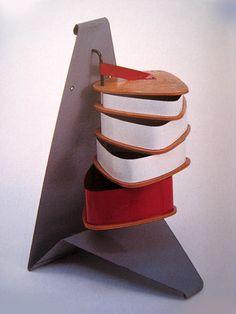 Willy van der Meeren; Enameled Metal and Wood Sewing Cabinet, c1950.