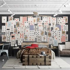 1Wall Creative Collage Vintage Playing Cards Wallpaper Mural   ACHICA