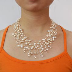 Pearl Necklace, Bridesmaid Necklace, Multistrand Necklace, Floating Necklace, Illusion Necklace - 15 Strand 18-22.5 Inches - Free Shipping. $22.00, via Etsy.