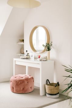 Claire s Characterful Edwardian Semi The Master Bedroom and Garden Couch Table, Table And Chair Sets, Dressing Table Mirror, Dressing Tables, Dressing Table In Bedroom, Dressing Table Inspo, Ikea Dressing Room, Ikea Malm Dressing Table, Small Dressing Table