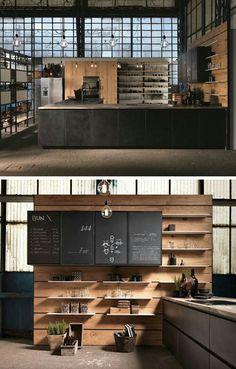 Vintage Industrial Decor House Interior Design Ideas - Discover the most effective interior design concepts Design Shop, Coffee Shop Design, Küchen Design, Cafe Design, Design Concepts, Design Ideas, Design Trends, Door Design, Shelf Design