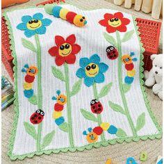 çiçekli böcekli el örgüsü bebek battaniyesi