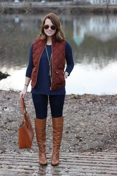 J.Crew Excursion Vest in Bronzed Brown, Louise Et Cie Over The Knee Boots