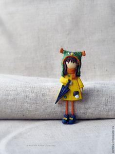 """Купить Девочка """"Совенок"""" брошь - разноцветный, девочка брошь, брошь для девочки, брошка для девочки"""