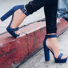 Denim Chunky Heels