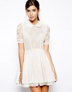 Image 1 of Jones and Jones Poppy Lace Prom Dress with Collar Detail