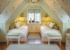 little girls, attic bedrooms, attic spaces, kid rooms, twin beds, attic rooms, guest rooms, bedroom designs, girl rooms