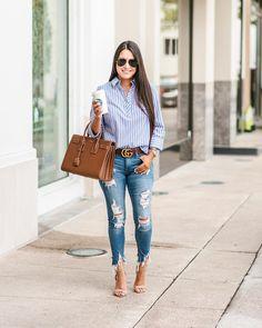 Like the whole outfit! Blue Striped Shirt Outfit, Blue Shirt Outfits, Outfits With Striped Shirts, Cute Outfits With Jeans, Fall Outfits, Casual Outfits, Summer Outfits, Fashion Outfits, Outfit Jeans