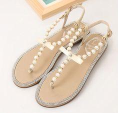 Womens Sexy Bowknot Pearl T-Strap Flat Sandals Elegant Ladies Wedding Bride Shoe #unbranded #BalletFlats