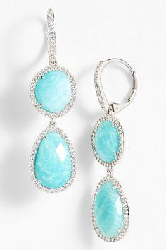 Nadri Amazonite & Sterling Silver Double Drop Earrings