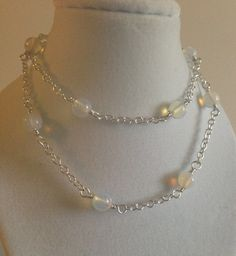 Opal necklace,tin cup necklace,chain necklace,sterling necklace,silverbymaggie,silver chain, beaded necklace,gifts for her,fashion jewelry by SilverByMaggie on Etsy