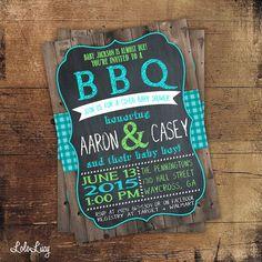 BBQ Invitation - BBQ Baby Shower  Invitation - BBQ Invite - BabyQ Shower - Custom - Digital or Prints - Teal, Lime, Blue, Pink, Yellow, Aqua