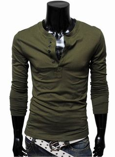 Five Button Solid Color Long Sleeve Henley Top