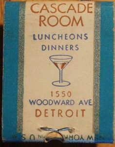 Cascade Room - Luncheons + Dinners - Detroit #matchbook To order your business' own branded #matchbooks call 800.605.7331 or goto: www.GetMatches.com.