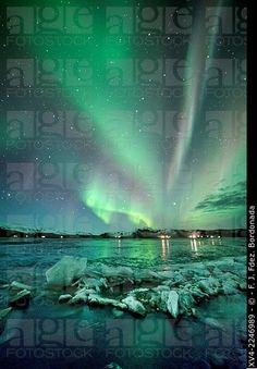 Stock Photo: Aurora Borealis or northern Lights during winter at southern Iceland.