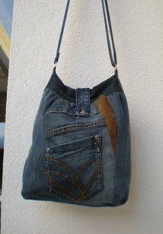 """Schultertaschen - Jeanstasche Upcycling """"Tulipano"""" - ein Designerstück von Gasani bei DaWanda"""
