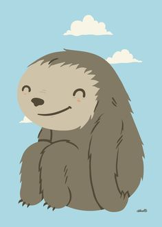 Easy Does It by Greg Abbott, adorably happy sloth Graphic Design Illustration, Illustration Art, Robot Monster, Doodles, Cute Monsters, Kawaii Cute, Dorm Decorations, Spirit Animal, Illustrations Posters