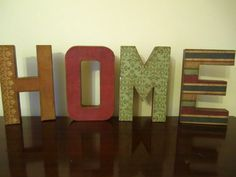 HOME Letter Set-Custom Home Decor $48.00, via Etsy. Wood Letter Crafts, Wood Letters, Letter Set, Custom Homes, Bookends, Lettering, Unique Jewelry, Handmade Gifts, Frame