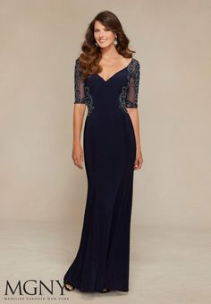 Evening Gowns and Mother of the Bride Dresses by MGNY Beading on Jersey and Net Colors: Navy, Black, Teal.