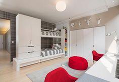 Moderne Designer Ideen fürs Kinderzimmer weiße eingebaute schrank
