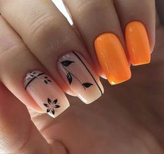 intricate short acrylic nails to express yourself 1 Manicure Nail Designs, Manicure E Pedicure, Nail Art Designs, Nagellack Trends, Pretty Nail Art, Hot Nails, Orange Nails, Nagel Gel, Square Nails